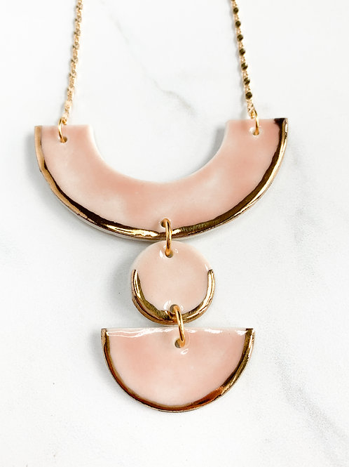 Pale Pink Arch Statement Necklace in Gold