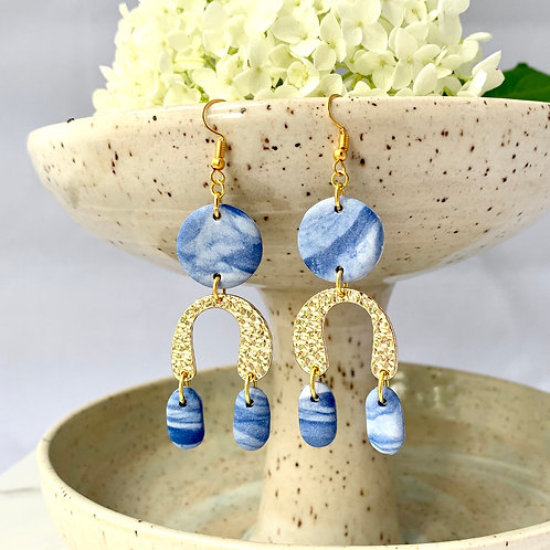 Porcelain & blue statement earrings with gold arches