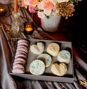 Treat box of macarons and cookies