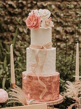 Three tier pink wedding cake