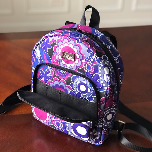 Purple and black LindSport mini backpack