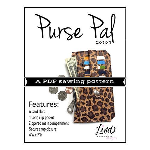 Purse pal PDF sewing pattern, diy wallet pattern, minimalist wallet, slim wallet