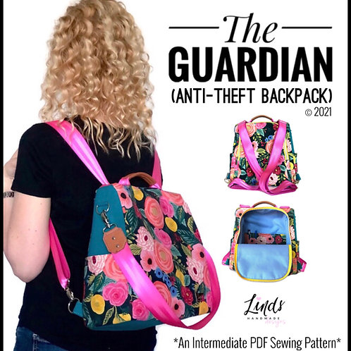 Guardian anti-theft backpack PDF sewing pattern, diy antitheft backpack