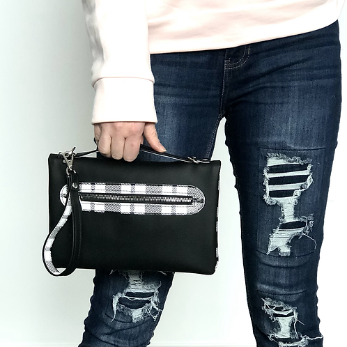 Black and White checkered faux leather Bend and Snap clutch