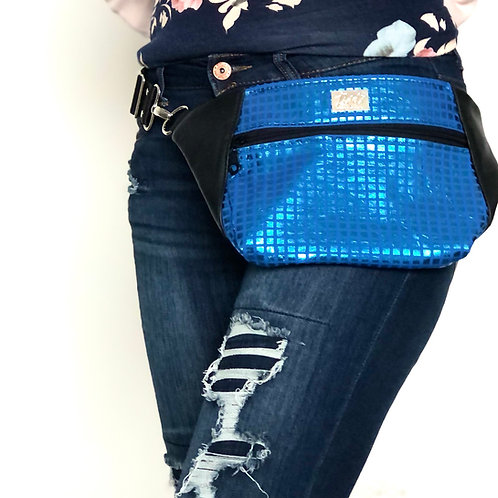 Blue disco and black leather Dayna Pack