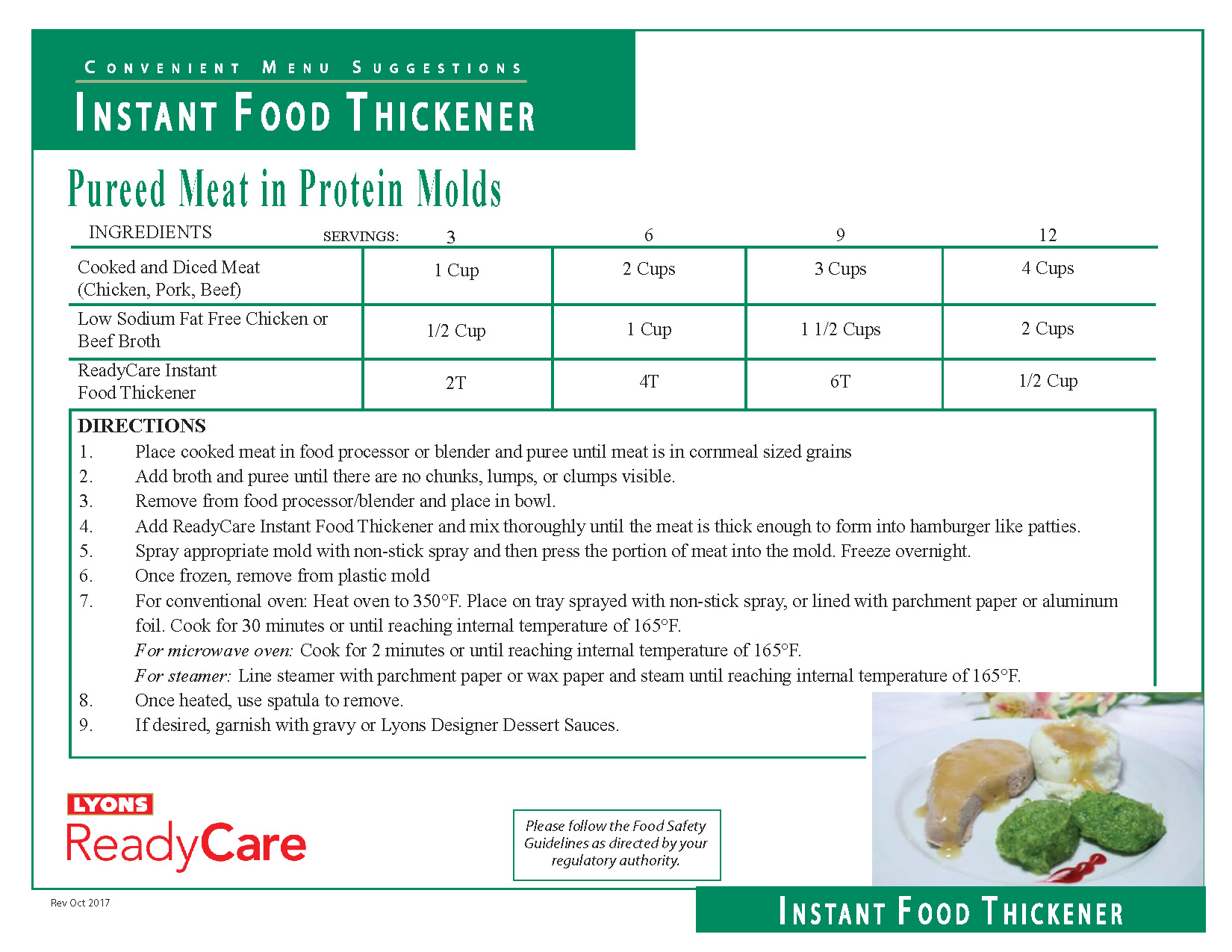 Pureed Meat in Protein Molds
