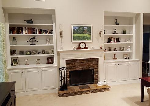 custom bookshelves fireplace atlanta