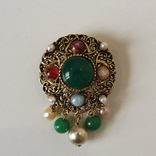 Broche Medalhão Esmeralda