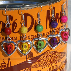 sugar skull and heart earrings