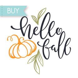 Hello Fall Phrase SVG Cricut cut file, Hello Fall png clipart