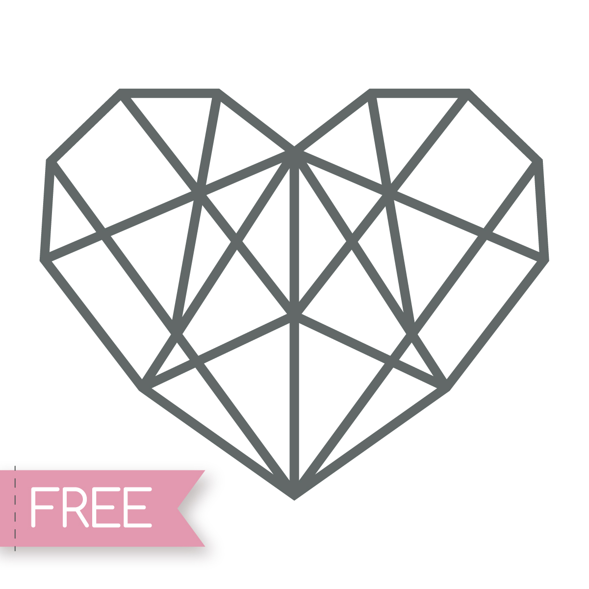 Crystal heart Cricut SVG cut file