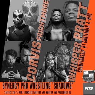 Whisper vs Frightmare vs Corvis vs Pratt Synergy Pro Wrestling 10/24