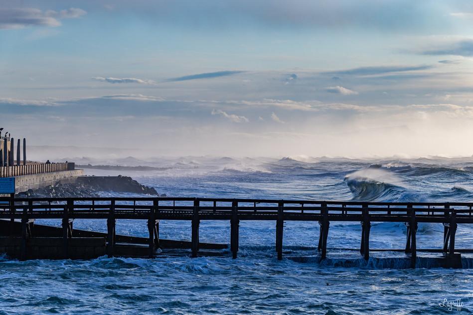 Estacade de Capbreton en hiver