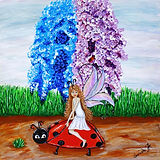 A Fairy riding a lady bug original Paintings for children, kids