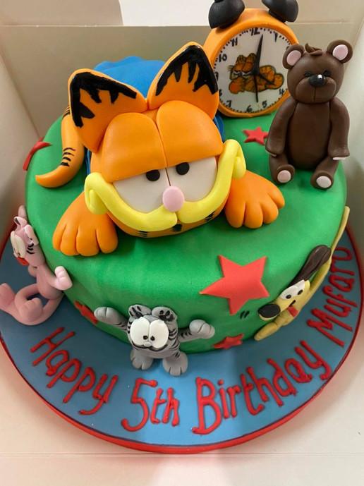 Garfield inspired 5th birthday cake