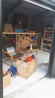 wood workshop with a chair and table in