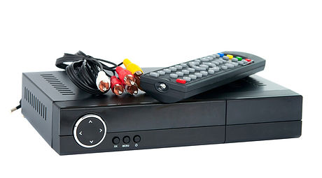 set top box with remote and cables