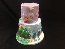 Frozen inspired multi-tiered cake