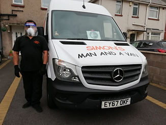 simons man and a van vehicle on a driveway with staff member wearing PPE