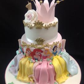 multi-tier Disney princess inspired cake