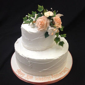 30th wedding anniversary cake in white with floral decoration