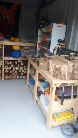 wood workshop with view of tools and equ