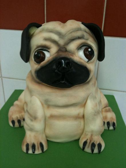 pug themed cake