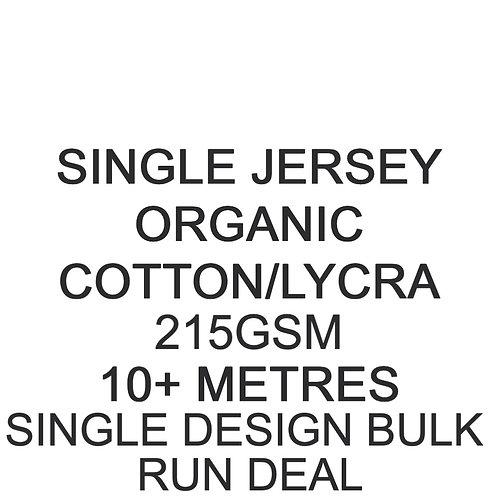10m+ Single Design Bulk Run Deal Organic Cotton Lycra Jersey 215gsm £15.50p/m