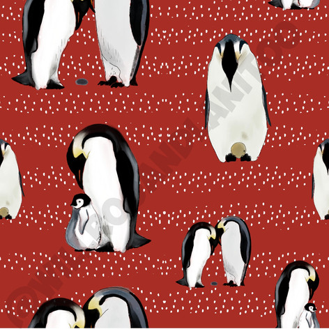 Penguins On Red