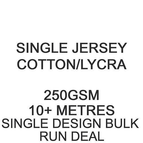 10m+ Single Design Bulk Run Deal Cotton Lycra Jersey 250gsm -/+5% £16 p/m