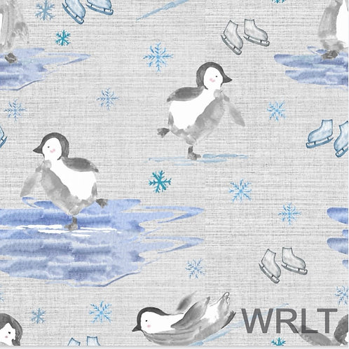 Full Skirt Dress With Sleeve Variations - Penguins On Ice