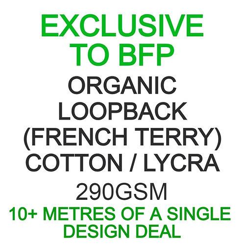 10m Single Design Run Organic French Terry/Loopback Cotton Lycra 290GSM £18.50pm