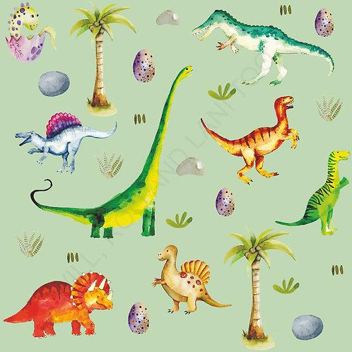 Pinafore Dress - Green Dinosaurs