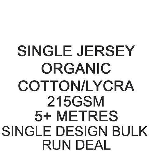 5m+ Single Design Bulk Run Organic Cotton Lycra Jersey 215gsm -/+5% £16.25p/m