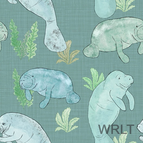 Full Skirt Dress With Sleeve Variations - Manatees