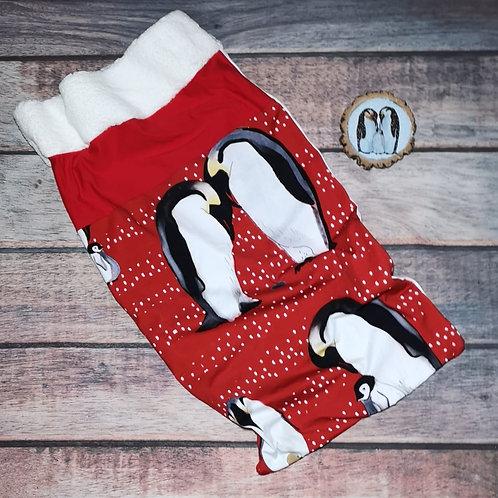Handmade Santa Sack Personalised - Large Penguin Perfection Red/Grey