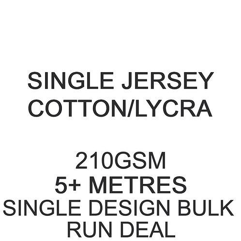 5m+ Single Design Bulk Run Deal Cotton Lycra Jersey 210gsm -/+5% £15.50p/m