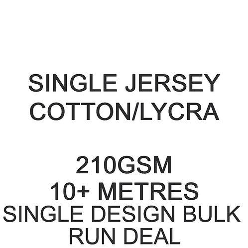 10m+ Single Design Bulk Run Deal Cotton Lycra Jersey 210gsm -/+5% £15p/m