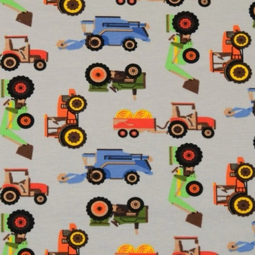 Long Sleeve Jessica Dress - Tractors On Grey