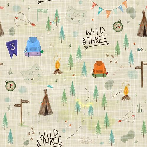 Long Leg Romper - Wild And Three Birthday Print