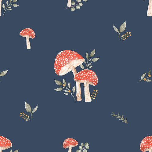 Full Skirt Dress With Sleeve Variations - Toadstools - Navy