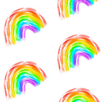 Large Blanket - Large Rainbows On White