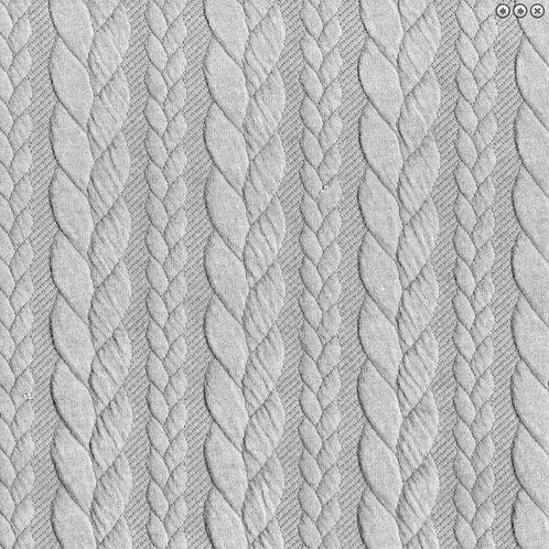 Long Leg Romper - Cable Knit Light Grey