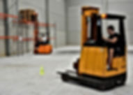 Employee diving forklift