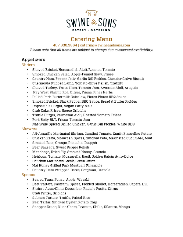 S&S Catering Packages for Chapel & Hudso