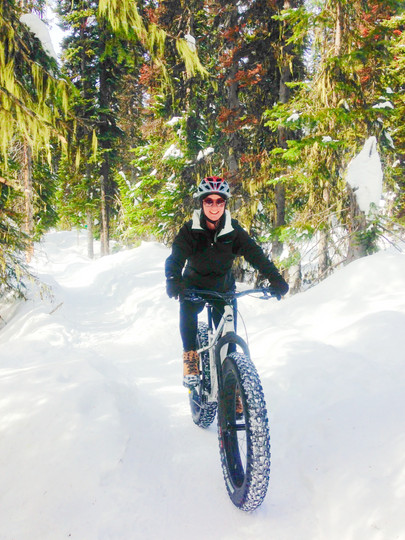 Lady Riding Fat Bike in Snow