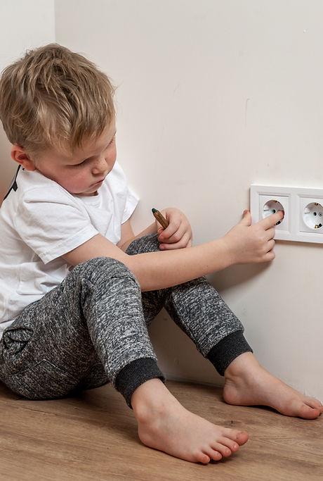 Child put finger in socket.  Dangerous s