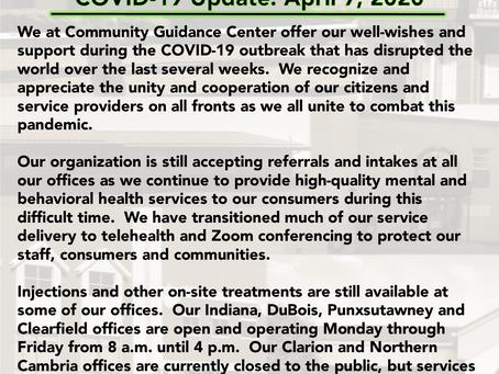 Community Guidance Center COVID-19 (coronavirus) Update, 4-7-2020