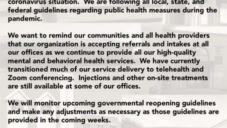 Community Guidance Center COVID-19 (coronavirus) Update, 4-24-2020