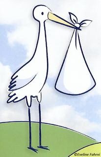 Storch mit Bündel